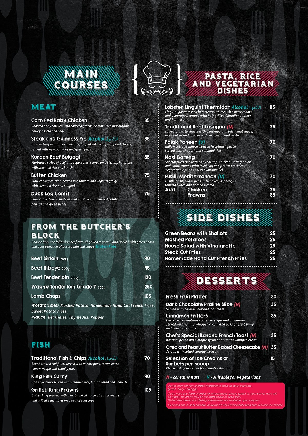 Spike Bar Menu