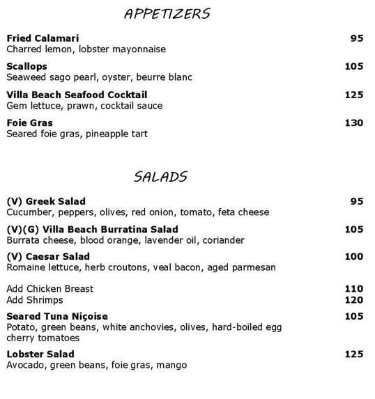 Villa Beach Menu