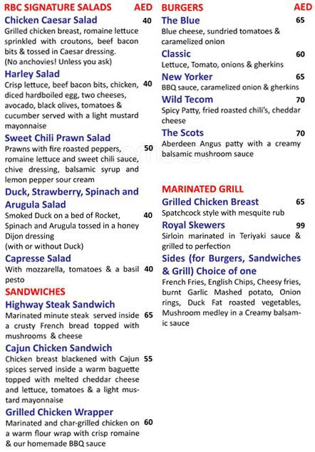 Rock Bottom - Barsha Heights Menu