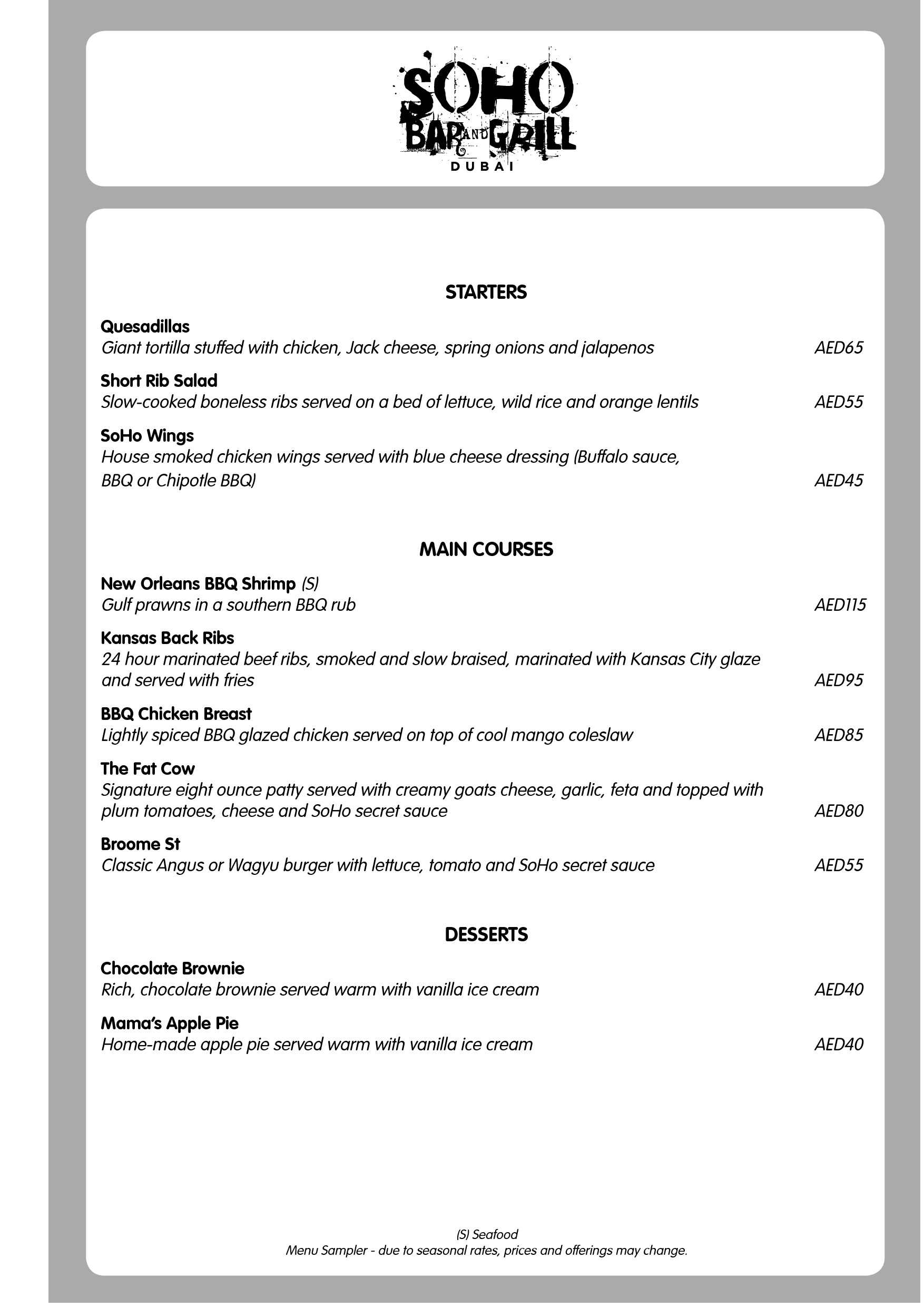 SoHo Bar & Grill Menu