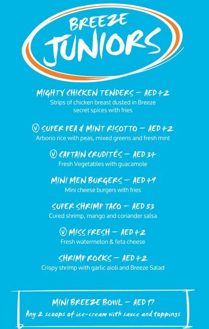 Breeze Beach Grill Menu