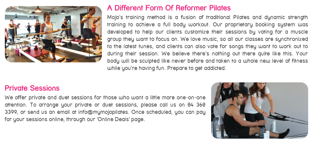 Mojo Reformer Pilates & Juice Bar Menu