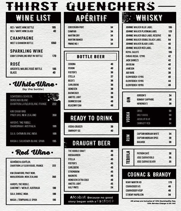 The Huddle Sports Bar Menu